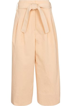 Jil Sander Women Wide Leg Trousers - Belted cotton wide-leg pants