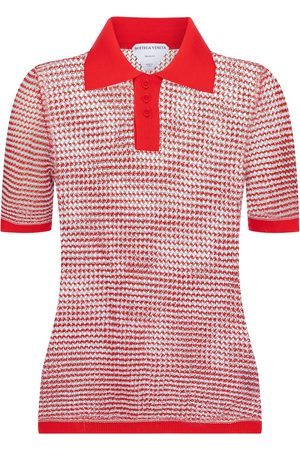Bottega Veneta Women Polo Shirts - Cotton-blend knit polo shirt