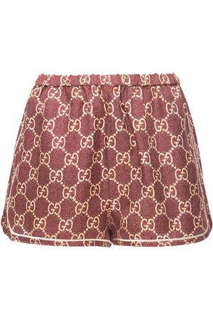 Gucci Logo Printed Silk Twill Shorts