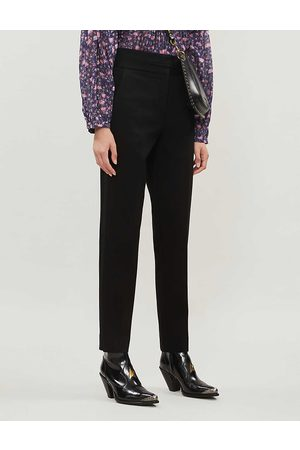 Sandro Womens Tapered High-rise Stretch-woven Trousers 6