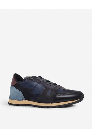 VALENTINO GARAVANI Mens Navy Camouflage Leather and Suede Trainers EUR 44.5 / 10.5 UK MEN