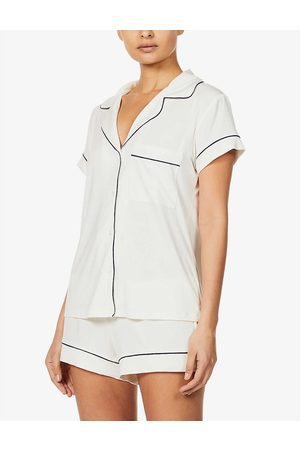 Eberjey Womens Ivory/navy Gisele Jersey Pyjama set M