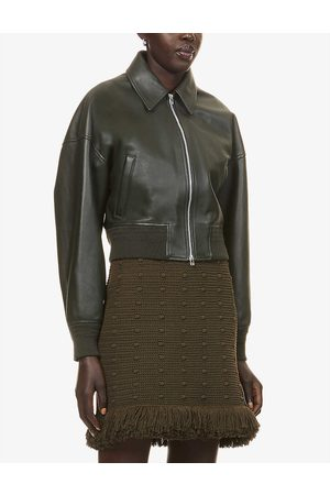 Bottega Veneta Womens Camping Collared Zipped Leather and Wool-blend Bomber Jacket 4