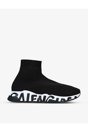Balenciaga Mens Blk/ Speed Graffiti Sole Knitted Trainers EUR 40 / 6 UK MEN