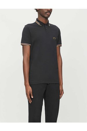 HUGO BOSS Mens Charcoal Logo-embroidered Slim-fit Cotton-piqué Polo Shirt L