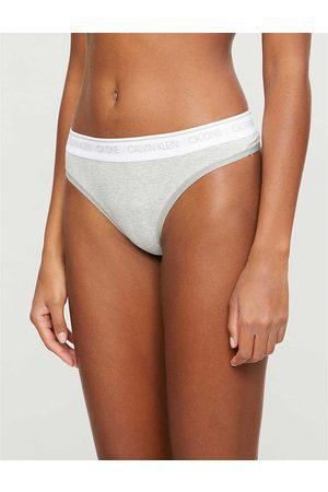 Calvin Klein Womens 020 Heather CK One Cotton-blend Thongs XS