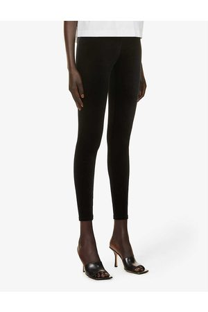 Commando Womens High-rise Elasticated-waistband Velvet Leggings S