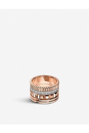 Boucheron Womens Quatre Radiant Edition Rose-gold and 0.51ct Diamond Ring 51mm