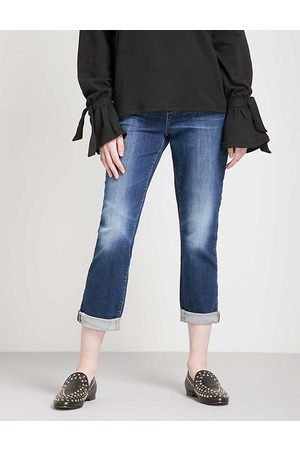 Paige Ladies Leather Brigitte Skinny Cropped High-Rise Jeans