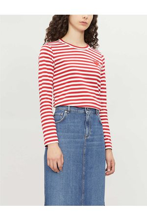 Comme des Garçons Womens / Heart Patch Striped Cotton-jersey top XS