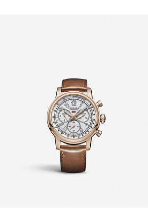 Chopard Mens Rose 161299-5001 Mille Miglia Classic XL 90th Anniversary 18ct Rose- and Leather Chronograph Watch