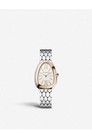 Bvlgari Womens Rose Serpenti Seduttori Stainless Steel and Rubellite Watch