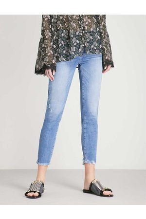 Paige Summer Ladies Cotton Hoxton Frayed-Hem Ultra-Skinny High-Rise Jeans