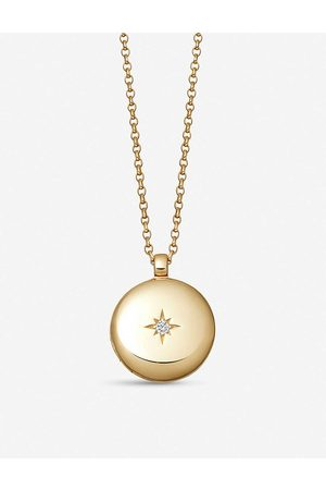 Astley Clarke Women Necklaces - Medium Astley 18ct vermeil and white sapphire locket