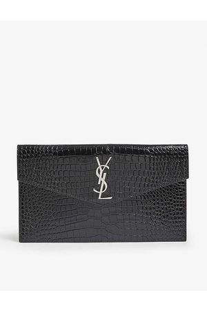 Saint Laurent Womens Uptown Croc-embossed Leather Pouch
