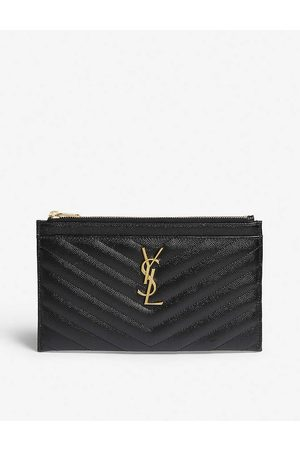 Saint Laurent Womens Monogram Quilted Leather Pouch