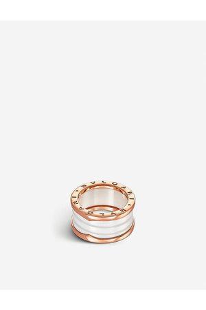 Bvlgari B.zero1 four-band 18kt pink- and ceramic ring