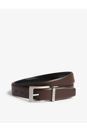 Ted Baker Mens Chocolate Karmer Reversible Leather Belt 30