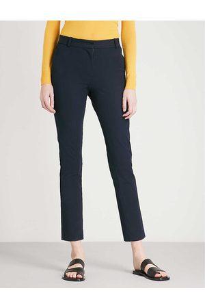 Joseph Womens Navy Zoom Cropped Stretch-gabardine Trousers 10