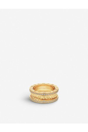 Bvlgari Womens B.zero1 18ct - and Diamond Pavé Ring 51mm