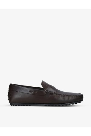 Tod's Mens MID City Penny Loafer Leather Driving Shoes EUR 40 / 6 UK MEN
