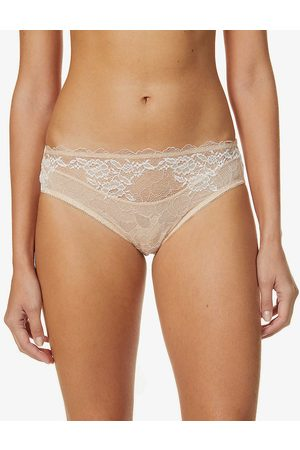 Wacoal Womens Cafe Creme Lace Perfection Mid-rise Stretch-lace Briefs S
