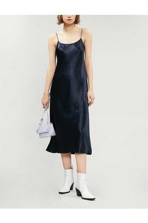 Vince Womens Coastal Sleeveless Satin Slip Midi Dress XS
