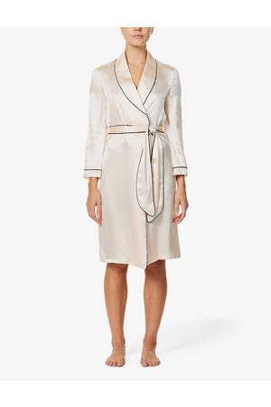 Agent Provocateur Womens Contrast-piped Silk-satin Dressing Gown XXL