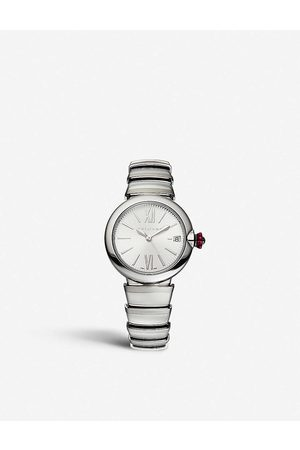 Bvlgari Women's Stainless Steel Lvcea And Pink Cabochon-Cut Stone Watch