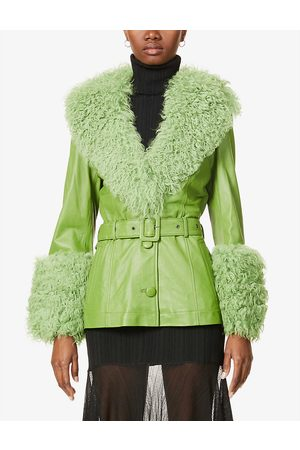 Saks Potts Womens Forest Shorty Shearling-trimmed Leather Jacket M