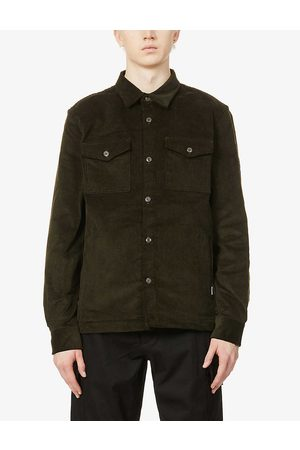 Barbour Mens Olive Collared Stretch-cotton Corduroy Shirt S