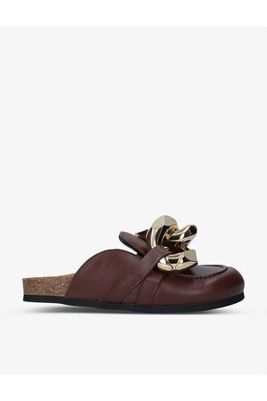 J.W.Anderson Womens Dark Chain-embellished Leather Loafers EUR 35 / 2 UK Women