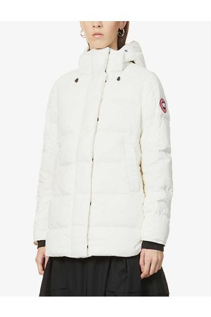 Canada Goose Summer Ladies White Embroidered Alliston Padded Shell-Down Coat