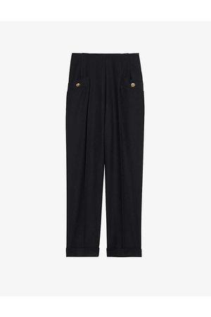Sandro Womens Navy Sieny Wide-leg Wool-blend Trousers 6