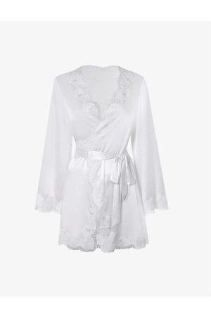 Agent Provocateur Womens Ivory (Cream) Amelea Wrap Stretch-silk Pyjama top M