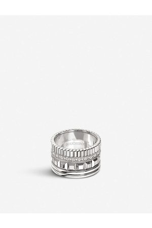 Boucheron Mens Quatre Radiant Edition 18ct White-gold and 0.49ct Pavé Diamond Ring 48mm