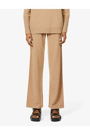 Chinti And Parker Womens Camel Wide-leg Cashmere Jogging Bottoms XS