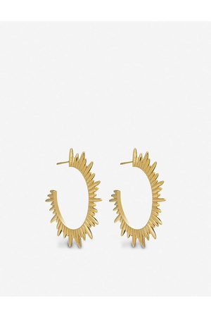 Rachel Jackson Womens 22 Carat Plated Electric Goddess 22ct -plated Silver Hoop Earrings 1SIZE