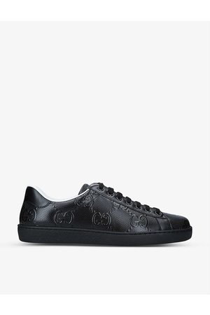 Gucci Mens New Ace Monogram-embossed Leather Low-top Trainers EUR 40 / 6 UK MEN