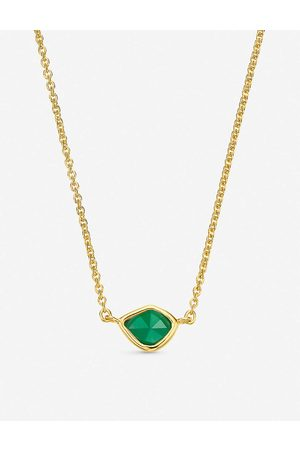 Monica Vinader Womens 18ct Vermeil Siren Mini Nugget 18ct -plated Sterling Silver and Green Onyx Necklace 1 Size