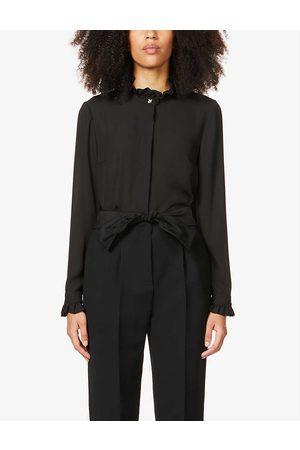 Claudie Pierlot Womens Colombine Frilled-trim Crepe Shirt 10