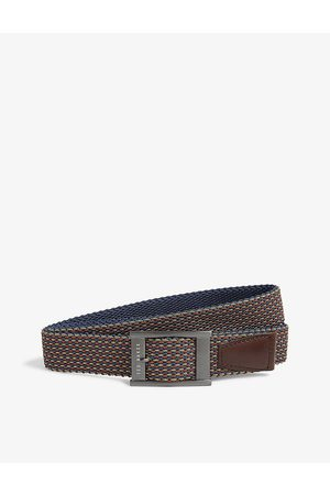 Ted Baker Mens Columm Woven and Leather Reversible Belt S
