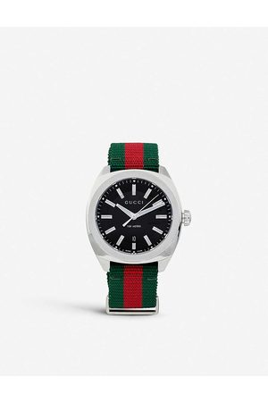 Gucci Mens Stainless Steel Ya142305 Gg2570 And Nylon Watch