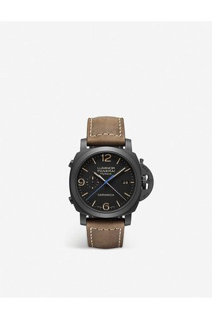 PANERAI Mens Luminor Chrono Flyback Ceramic and Leather Watch 1 Size