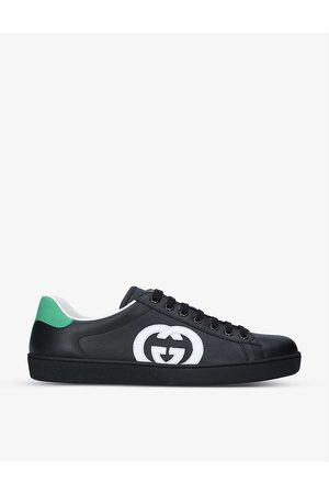Gucci Mens New Ace Contrast-logo Leather Trainers EUR 41 / 7 UK MEN