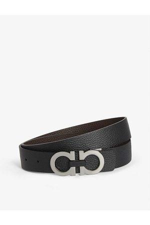 Salvatore Ferragamo Mens BLK Gancini Reversible Leather Belt 36