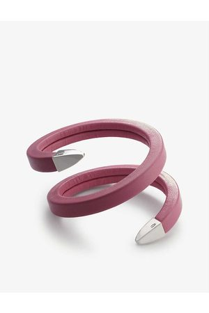 Bottega Veneta Womens Wrap Sterling Silver and Leather Bracelet