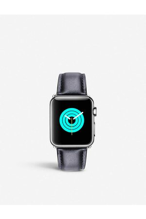 Mintapple Mens Apple Watch Leather Strap and Stainless Steel Case 38mm/40mm