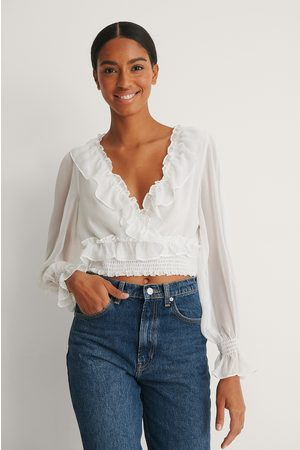 NA-KD Recycled Cropped Flounce LS Blouse - White