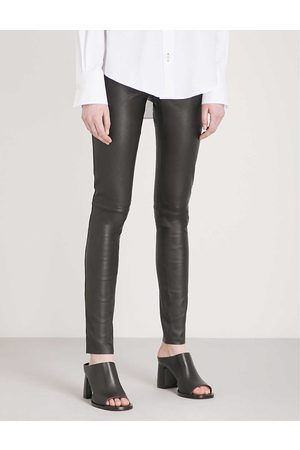 Joseph Womens Panelled Stretch-leather Trousers 10